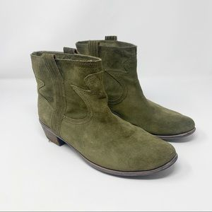 Lucky Brand Green Suede Western Ankle Booties